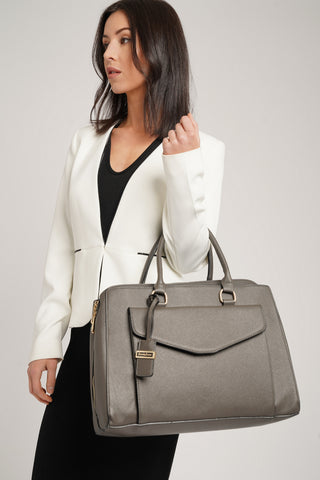 Amy Envelope Pocket Work Handbag Grey