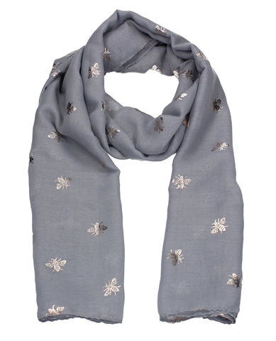 Worker Bee Gold Foil Animal Print Winter Scarf Grey