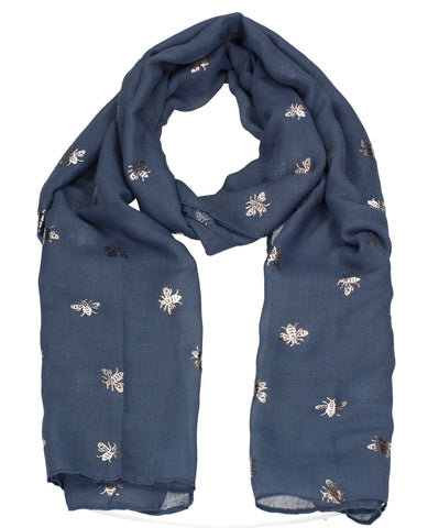 Worker Bee Gold Foil Animal Print Winter Scarf Blue