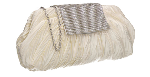Sienna Diamante Pouch Clutch Bag Ivory