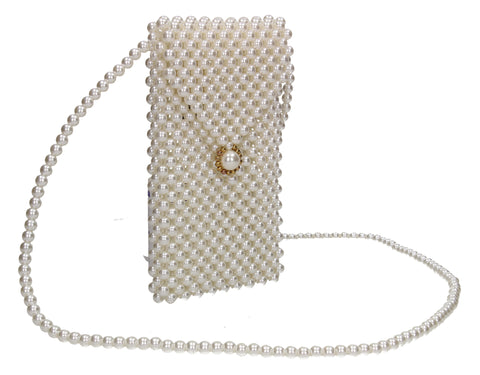 Makayla Faux Pearl Bead Tall Slim Crossbody Bag White