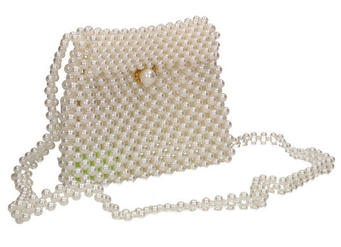 Juliette Faux Pearl Bead Small Crossbody Bag Ivory