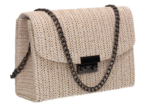 Lottie Woven Effect Crossbody Clutch Bag Ivory