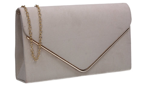 Poppy Faux Suede Envelope Clutch Bag Ivory