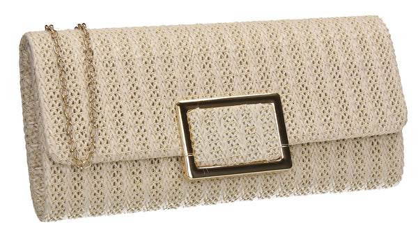 Amari Straw Effect Flapover Clutch Bag Ivory