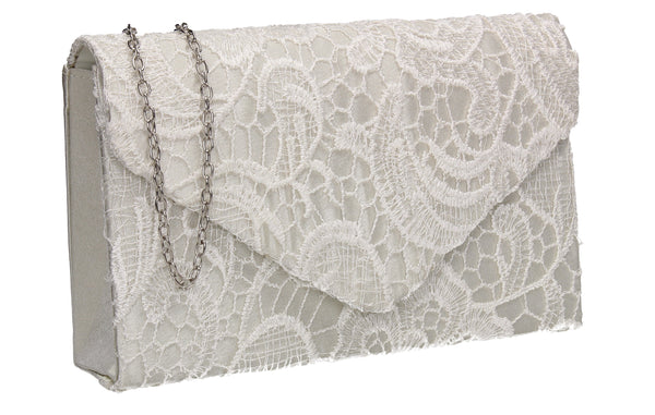 Holly Lace Clutch Bag Ivory