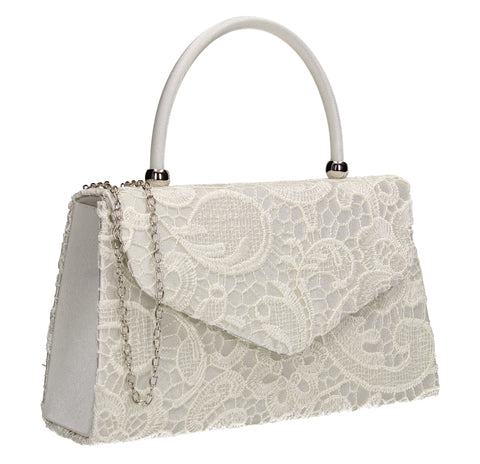 Kendall Lace Clutch Bag Ivory