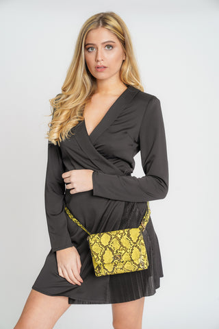 Victoria 2 in 1 Faux Snakeskin Crossbody Belt Bag Yellow