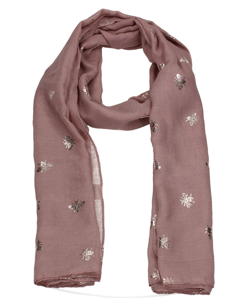 Worker Bee Gold Foil Animal Print Winter Scarf Pink
