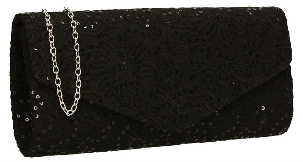 SWANKYSWANS Julia Lace Sequin Clutch Bag Black Cute Cheap Clutch Bag For Weddings School and Work