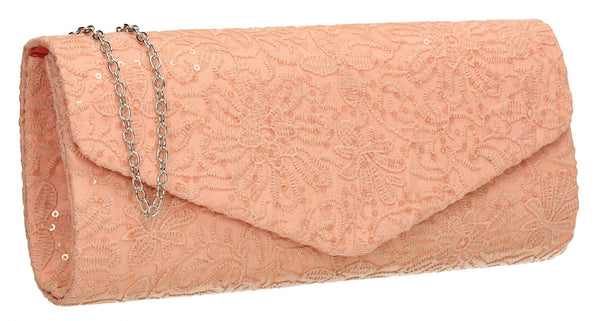 SWANKYSWANS Julia Lace Sequin Clutch Bag Blush Cute Cheap Clutch Bag For Weddings School and Work