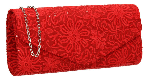 SWANKYSWANS Julia Lace Sequin Clutch Bag Red Cute Cheap Clutch Bag For Weddings School and Work