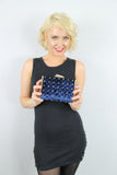 Nyla Studded Velvet Clutch Bag Navy Blue