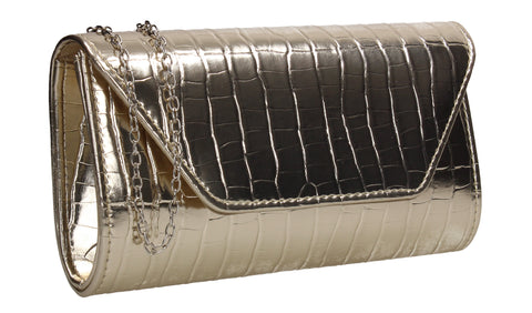 Erin Croc Effect Clutch Bag Gold