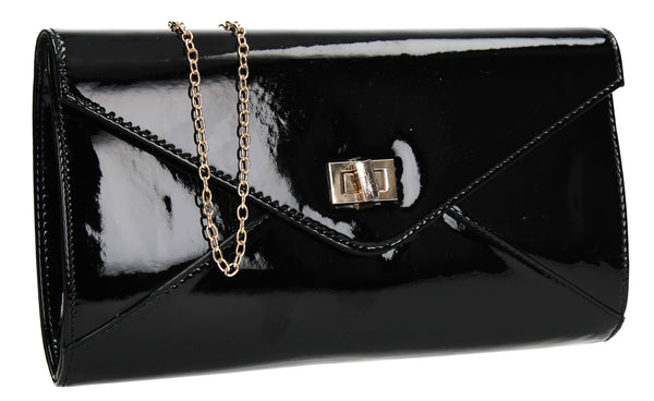 SWANKYSWANS Briana Patent Clutch Bag Black Cute Cheap Clutch Bag For Weddings School and Work