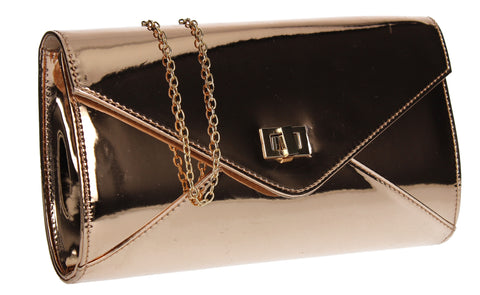 SWANKYSWANS Briana Patent Clutch Bag Champagne Cute Cheap Clutch Bag For Weddings School and Work