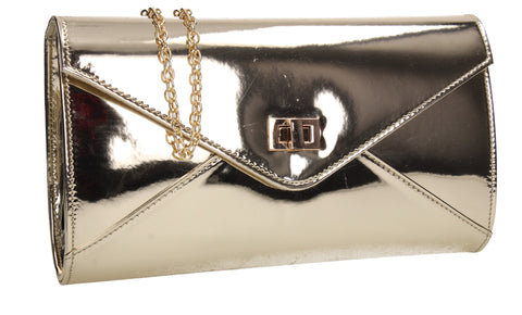 Briana Patent Clutch Bag Gold