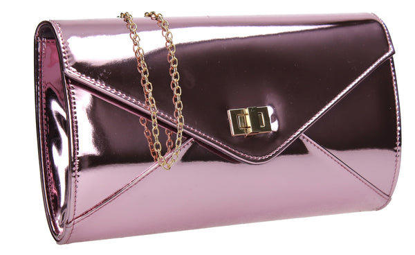 SWANKYSWANS Briana Patent Clutch Bag Pink Cute Cheap Clutch Bag For Weddings School and Work