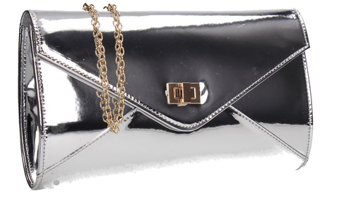 SWANKYSWANS Briana Patent Clutch Bag Silver Cute Cheap Clutch Bag For Weddings School and Work