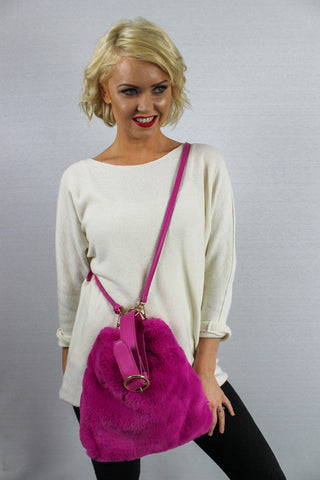Skye Faux Fur Large Cross Body Bag Fuchsia