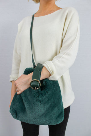 Skye Faux Fur Large Cross body Bag Green