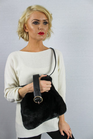 Skye Faux Fur Large Cross Body Bag Black