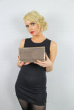 Ellis Sequin & Glitter Slim Clutch Bag Brown