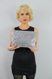 Gean Sequin & Glitter Slim Clutch Bag Silver