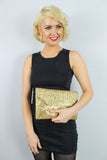 Gean Sequin & Glitter Slim Clutch Bag Gold
