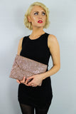 Gean Sequin & Glitter Slim Clutch Bag Champagne