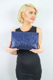 Gean Sequin & Glitter Slim Clutch Bag Blue