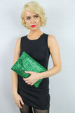 Gean Sequin & Glitter Slim Clutch Bag Green