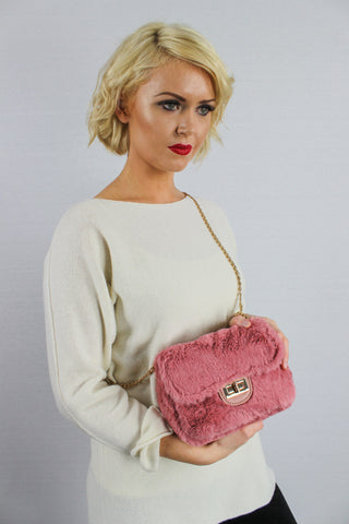 Carson Faux Fur Cross Body Clutch Bag Pink