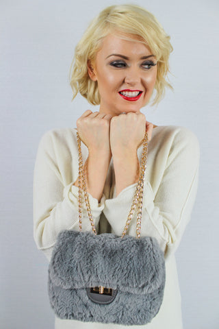 Carson Faux Fur Cross Body Clutch Bag Grey