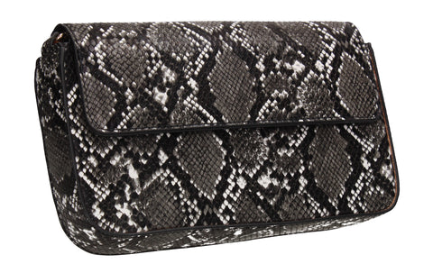 Lydia Snakeskin Effect Crossbody Clutch Bag Black