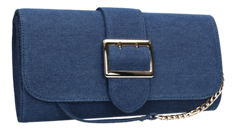 Dawn Denim Clutch Bag Blue