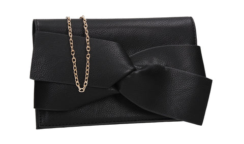 SWANKYSWANS Kira Bow Detail Clutch Bag Black Cute Cheap Clutch Bag For Weddings School and Work