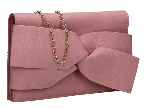 SWANKYSWANS Kira Bow Detail Clutch Bag Pink Cute Cheap Clutch Bag For Weddings School and Work