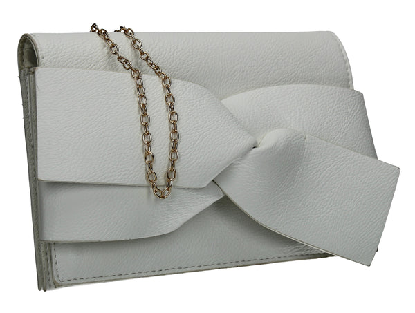 SWANKYSWANS Kira Bow Detail Clutch Bag White Cute Cheap Clutch Bag For Weddings School and Work