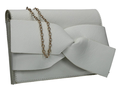 Kira Bow Detail Clutch Bag White