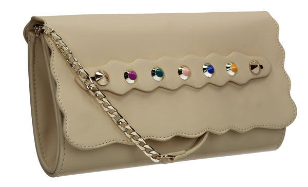 SWANKYSWANS Kira Clutch Bag Beige Cute Cheap Clutch Bag For Weddings School and Work