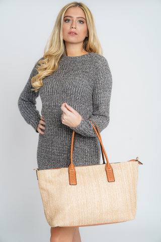 Miami Straw Effect Beach Tote Bag Beige