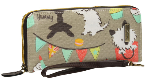 Biba Dog Cupcake Party Zip Around Purse Grey-Purse-SWANKYSWANS