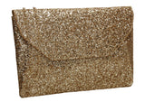 SWANKYSWANS Gean Sequin & Glitter Slim Clutch Bag Gold