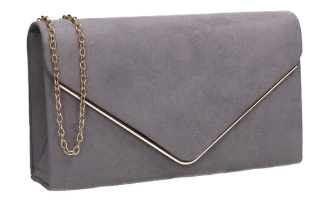 Poppy Faux Suede Envelope Clutch Bag Light Grey