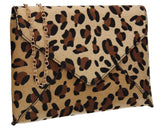 Sasha Faux Suede Leopard Print Clutch Bag Brown