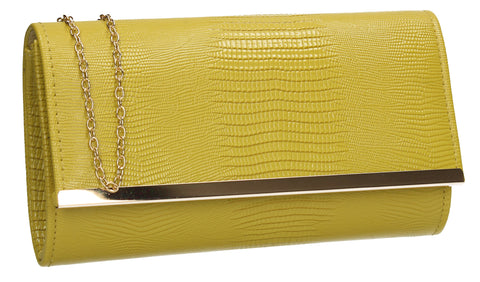 Ronai Flapover Faux Leather Clutch Bag Lemon Yellow