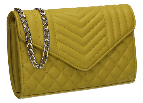 Miya V Stitched Party Evening Clutch Bag Yellow