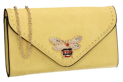 SWANKYSWANS Shannon Clutch Bag Lemon Yellow Cute Cheap Clutch Bag For Weddings School and Work