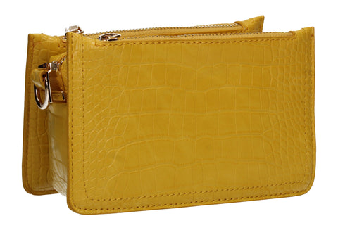 Evalyn Croc Structured Crossbody Clutch Bag Lemon Yellow